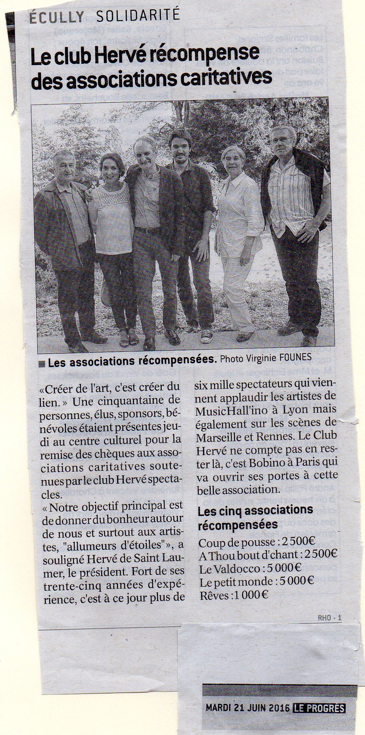 2016.06.21 Le club HERVE récompense des associations caritatives